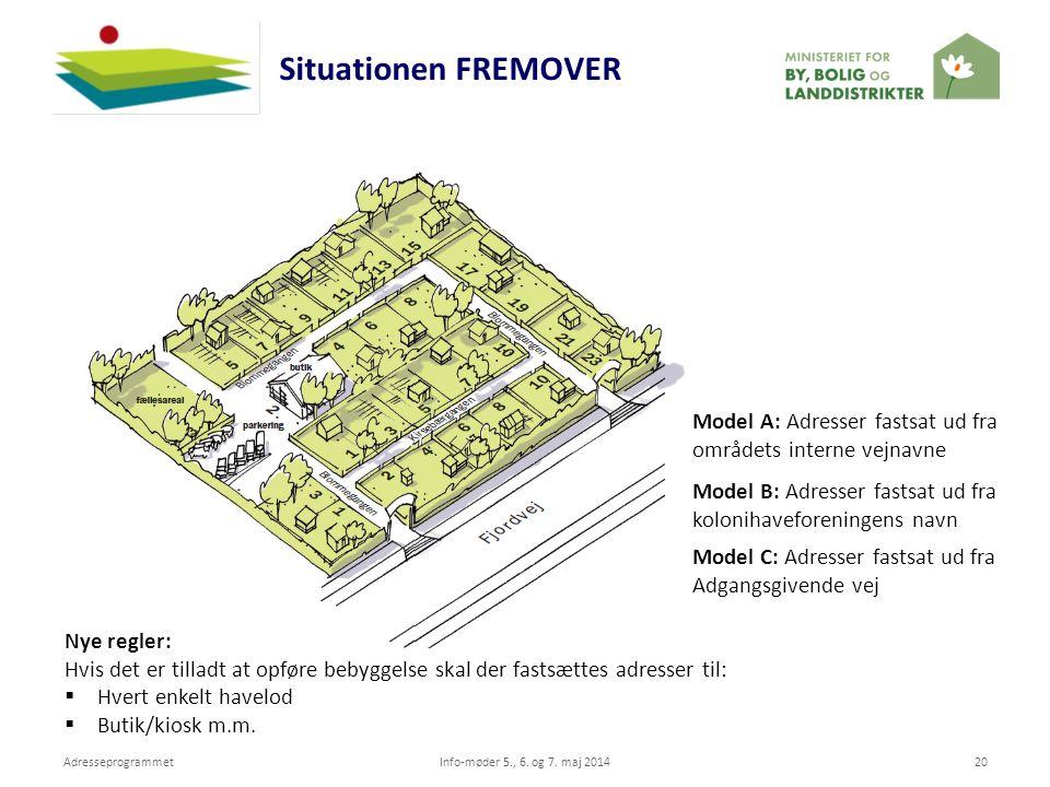 Situationen FREMOVER Model A: Adresser fastsat ud fra områdets interne vejnavne. Model B: Adresser fastsat ud fra kolonihaveforeningens navn.