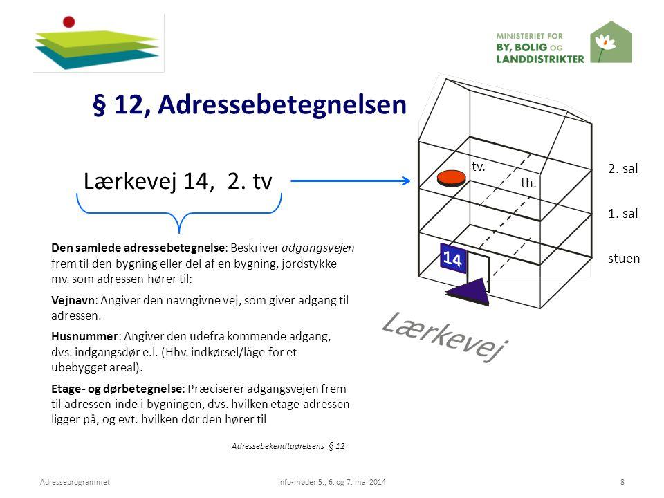 § 12, Adressebetegnelsen Lærkevej 14, 2. tv tv. 2. sal th. 1. sal