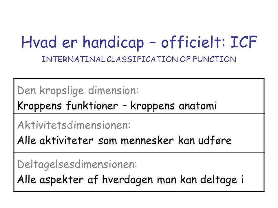 Hvad er handicap – officielt: ICF INTERNATINAL CLASSIFICATION OF FUNCTION