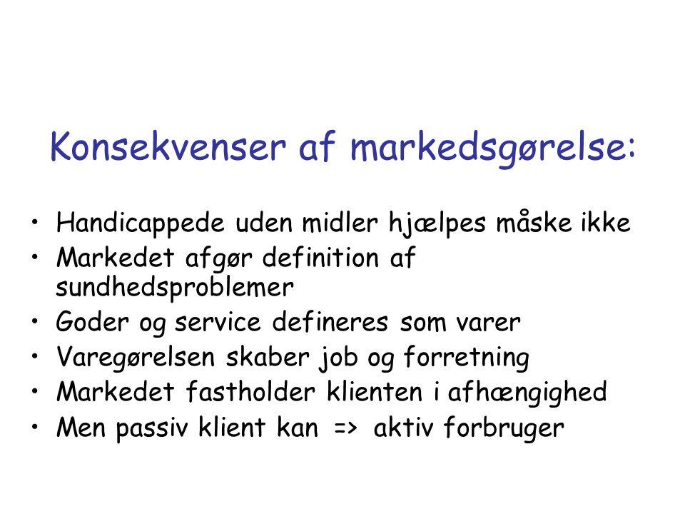 Konsekvenser af markedsgørelse: