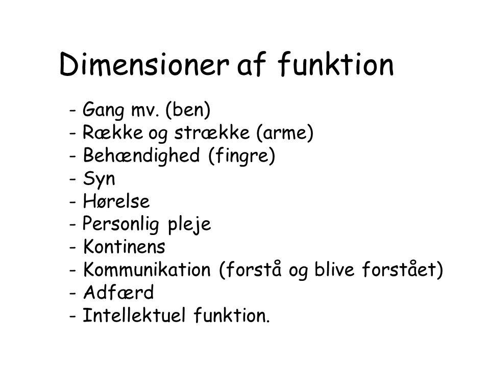Dimensioner af funktion