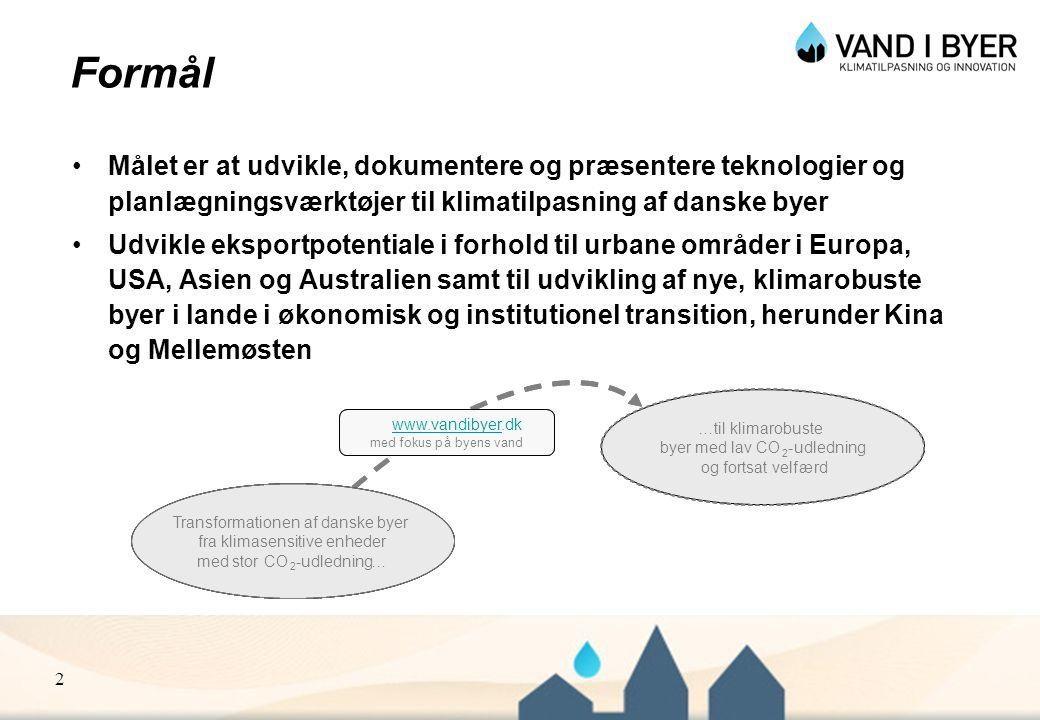 Formål Målet er at udvikle, dokumentere og præsentere teknologier og planlægningsværktøjer til klimatilpasning af danske byer.