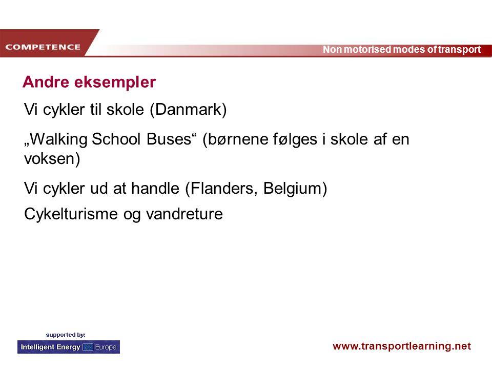 """Andre eksempler Vi cykler til skole (Danmark) """"Walking School Buses (børnene følges i skole af en voksen)"""