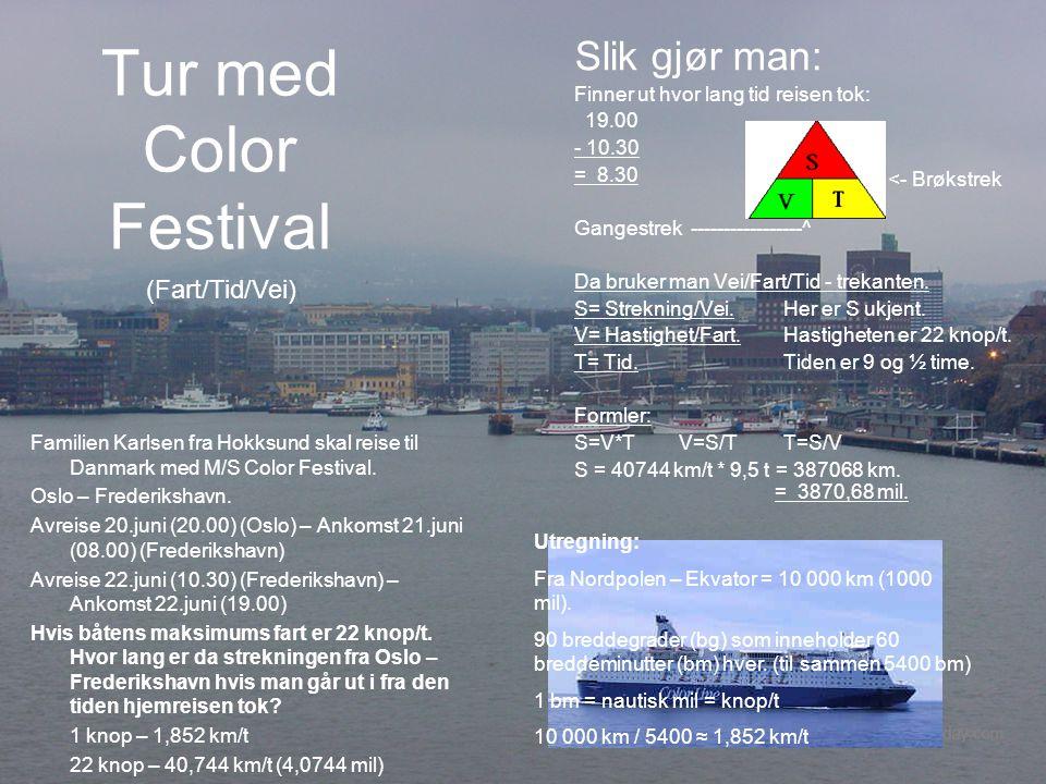 Tur med Color Festival Slik gjør man: (Fart/Tid/Vei)