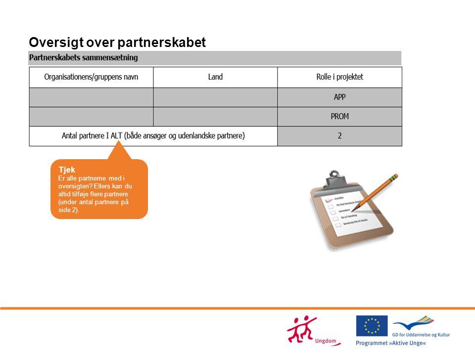 Oversigt over partnerskabet