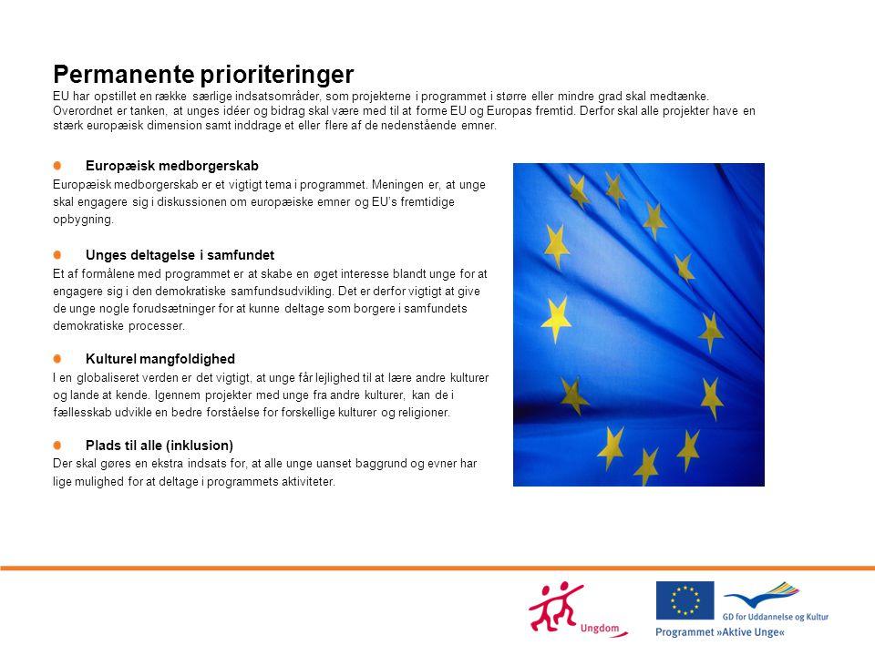 Permanente prioriteringer EU har opstillet en række særlige indsatsområder, som projekterne i programmet i større eller mindre grad skal medtænke. Overordnet er tanken, at unges idéer og bidrag skal være med til at forme EU og Europas fremtid. Derfor skal alle projekter have en stærk europæisk dimension samt inddrage et eller flere af de nedenstående emner.