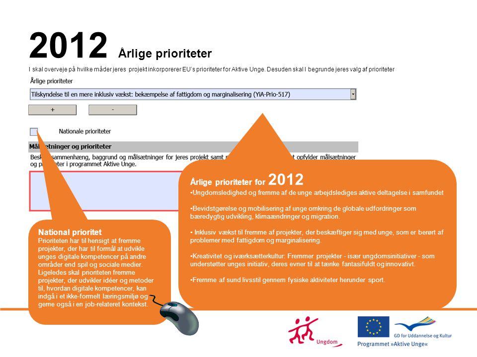 2012 Årlige prioriteter I skal overveje på hvilke måder jeres projekt inkorporerer EU's prioriteter for Aktive Unge. Desuden skal I begrunde jeres valg af prioriteter