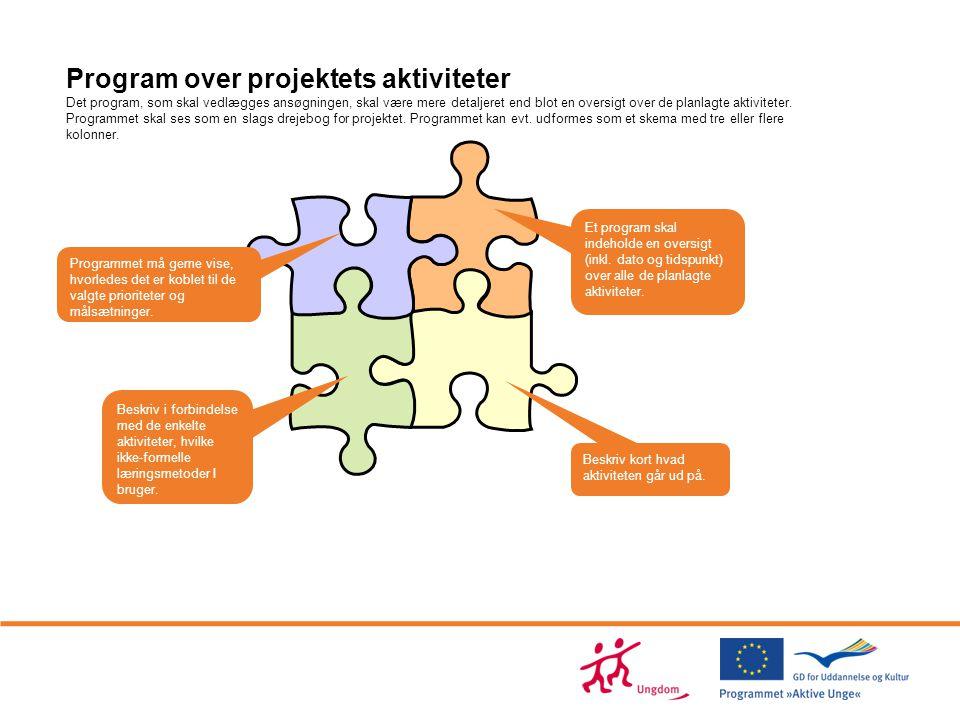 Program over projektets aktiviteter Det program, som skal vedlægges ansøgningen, skal være mere detaljeret end blot en oversigt over de planlagte aktiviteter. Programmet skal ses som en slags drejebog for projektet. Programmet kan evt. udformes som et skema med tre eller flere kolonner.