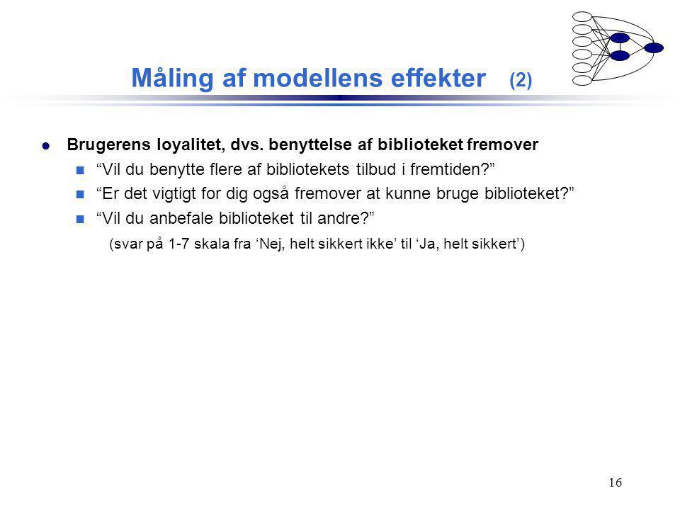Måling af modellens effekter (2)