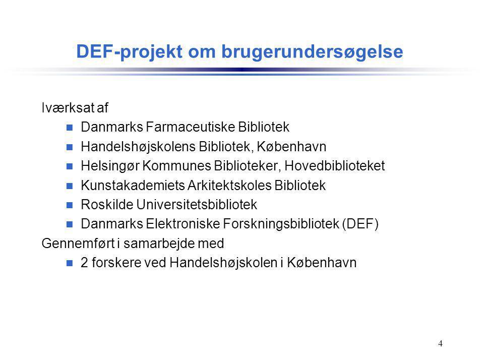 DEF-projekt om brugerundersøgelse