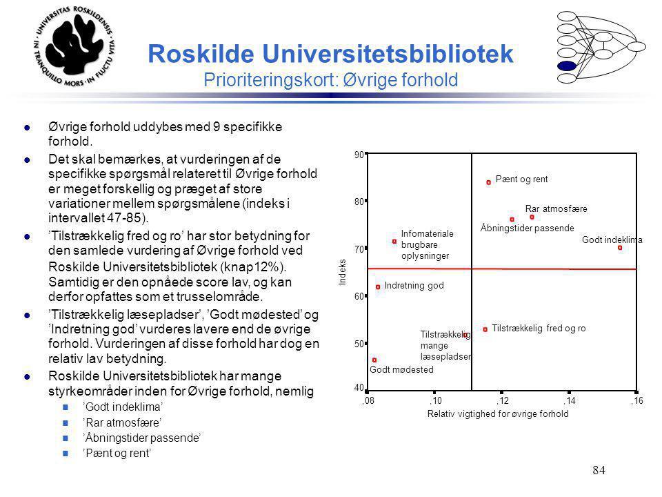 Roskilde Universitetsbibliotek Prioriteringskort: Øvrige forhold