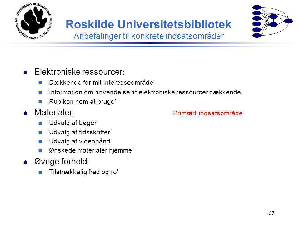 Roskilde Universitetsbibliotek Anbefalinger til konkrete indsatsområder
