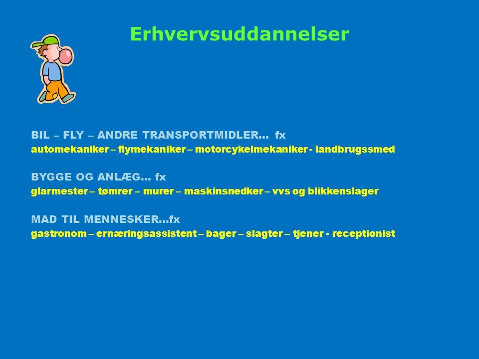 Erhvervsuddannelser BIL – FLY – ANDRE TRANSPORTMIDLER… fx