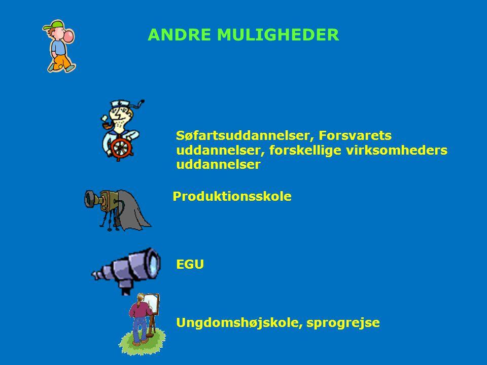 ANDRE MULIGHEDER Søfartsuddannelser, Forsvarets uddannelser, forskellige virksomheders uddannelser.