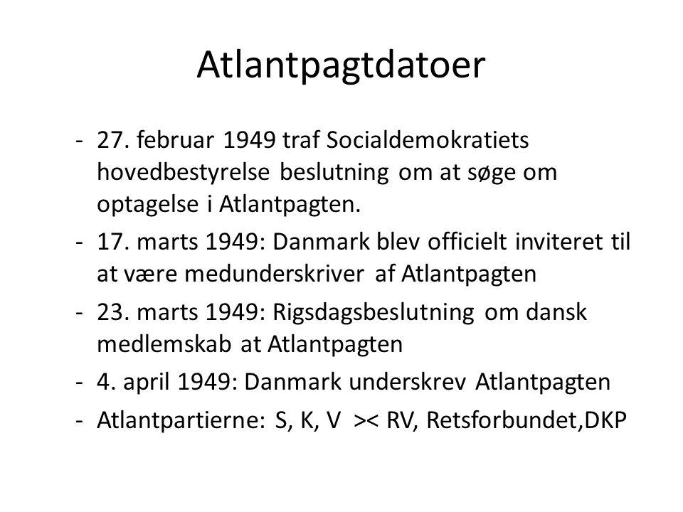 Atlantpagtdatoer 27. februar 1949 traf Socialdemokratiets hovedbestyrelse beslutning om at søge om optagelse i Atlantpagten.