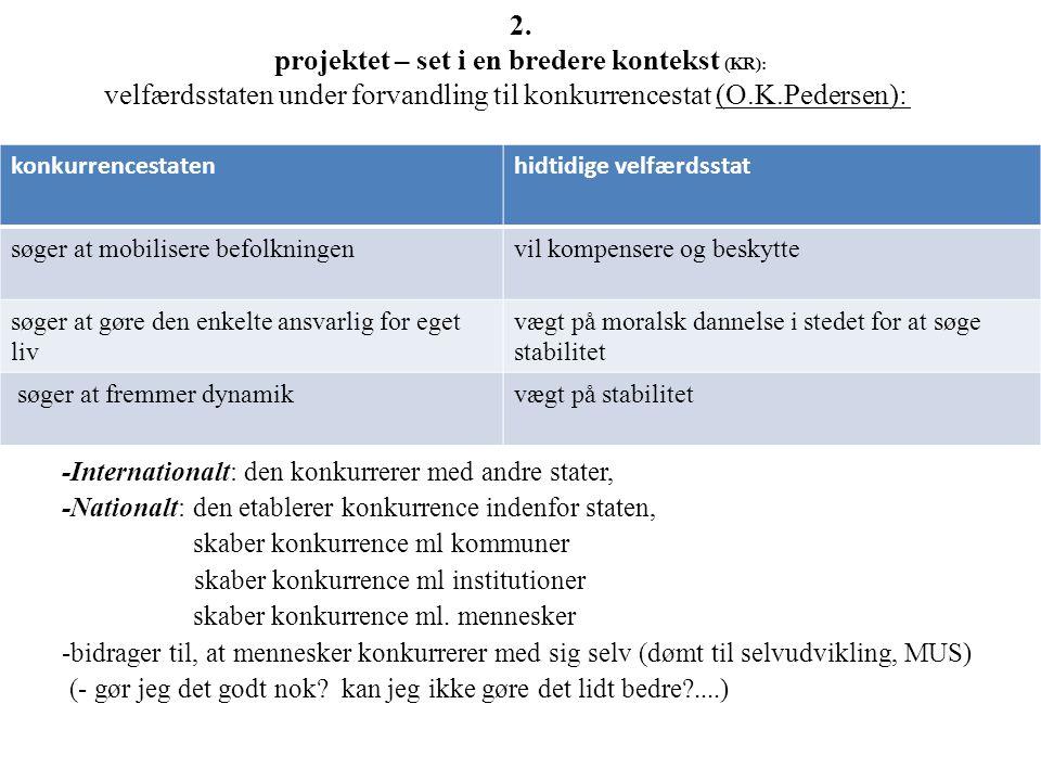 2. projektet – set i en bredere kontekst (KR): velfærdsstaten under forvandling til konkurrencestat (O.K.Pedersen):