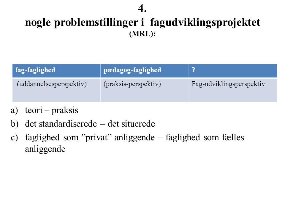 4. nogle problemstillinger i fagudviklingsprojektet (MRL):
