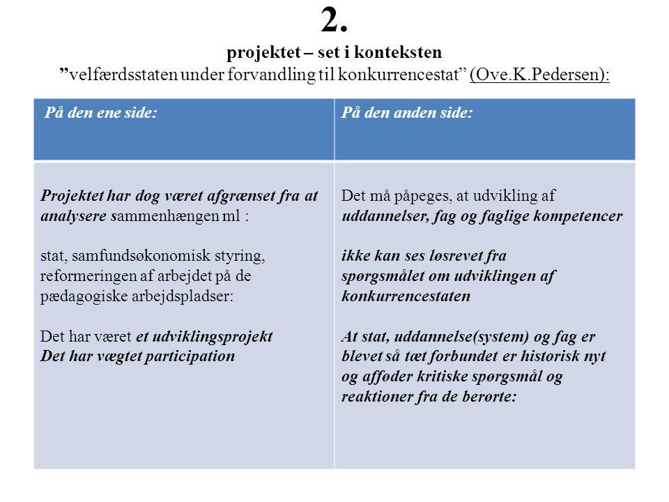 2. projektet – set i konteksten velfærdsstaten under forvandling til konkurrencestat (Ove.K.Pedersen):