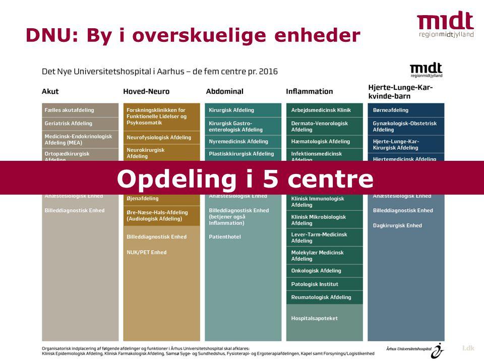 Opdeling i 5 centre DNU: By i overskuelige enheder