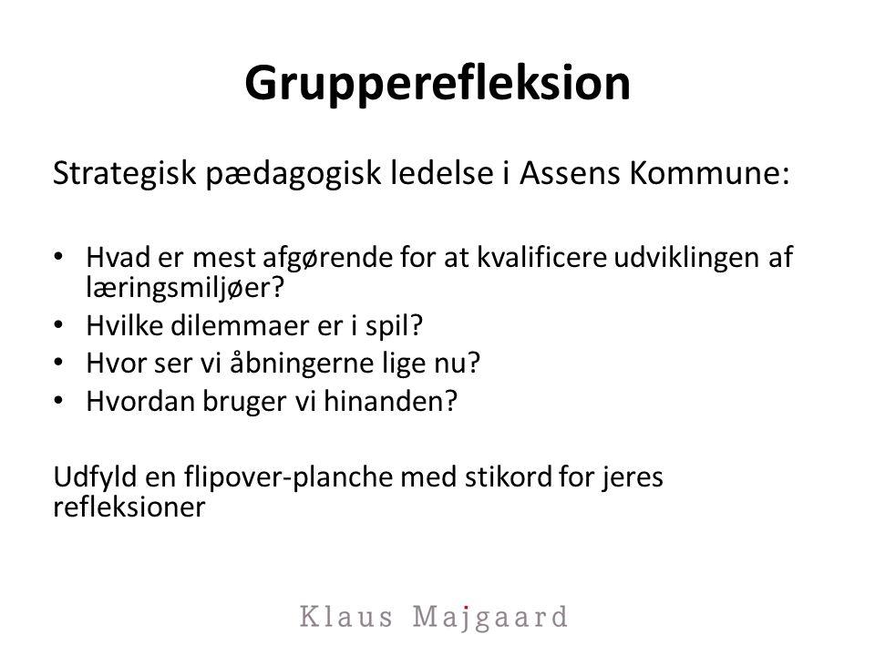 Grupperefleksion Strategisk pædagogisk ledelse i Assens Kommune: