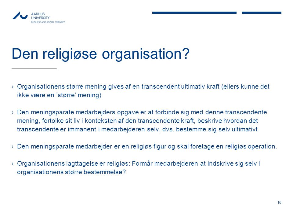 Den religiøse organisation