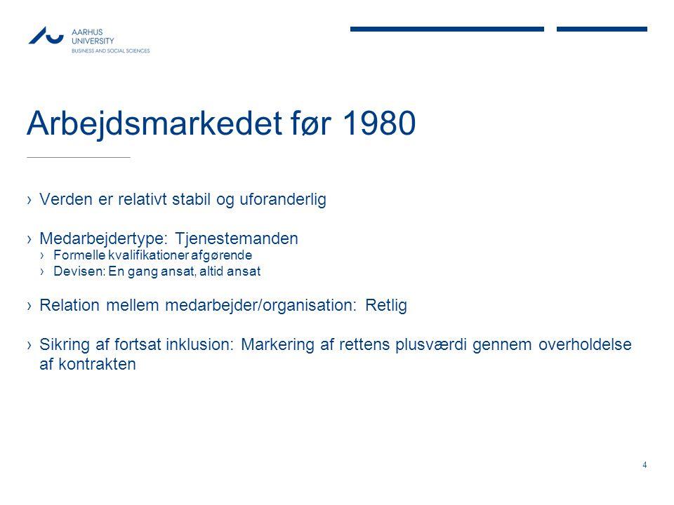 Arbejdsmarkedet før 1980 Verden er relativt stabil og uforanderlig