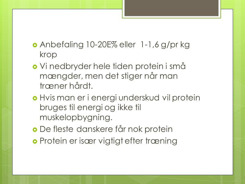 Anbefaling 10-20E% eller 1-1,6 g/pr kg krop