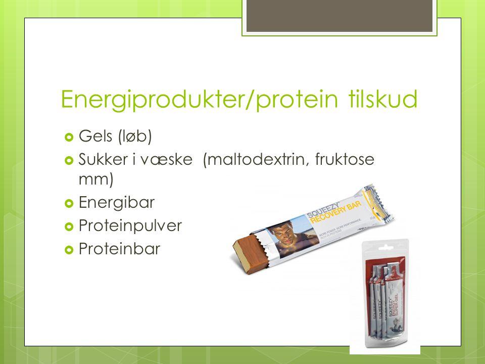 Energiprodukter/protein tilskud