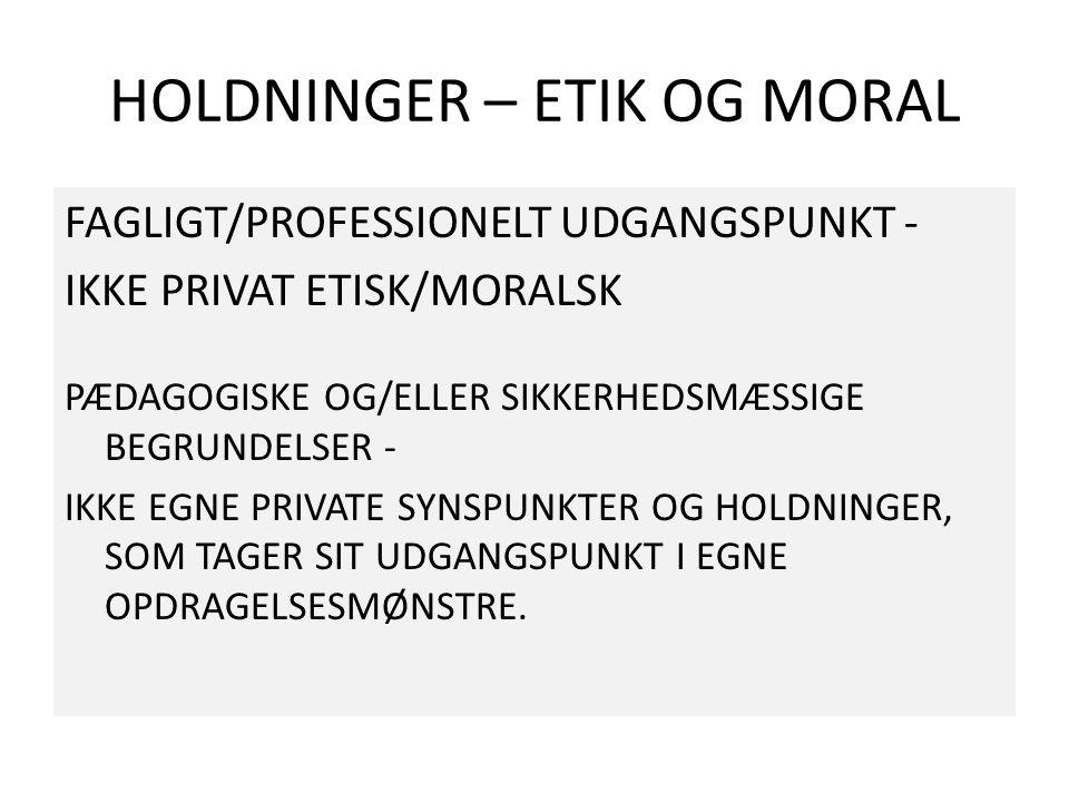 HOLDNINGER – ETIK OG MORAL