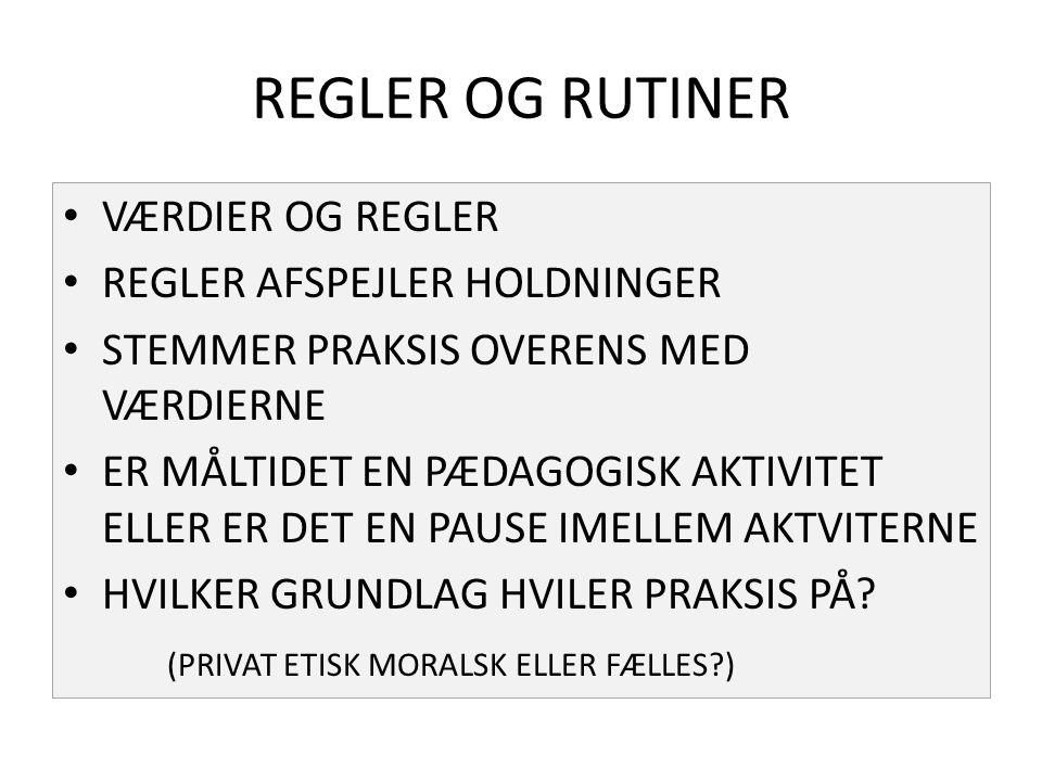 REGLER OG RUTINER VÆRDIER OG REGLER REGLER AFSPEJLER HOLDNINGER
