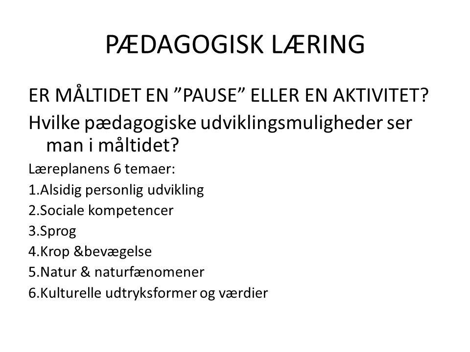 PÆDAGOGISK LÆRING ER MÅLTIDET EN PAUSE ELLER EN AKTIVITET