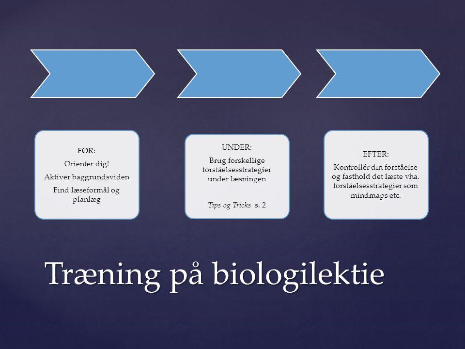 Træning på biologilektie
