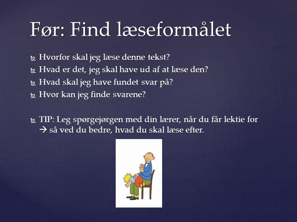 Før: Find læseformålet