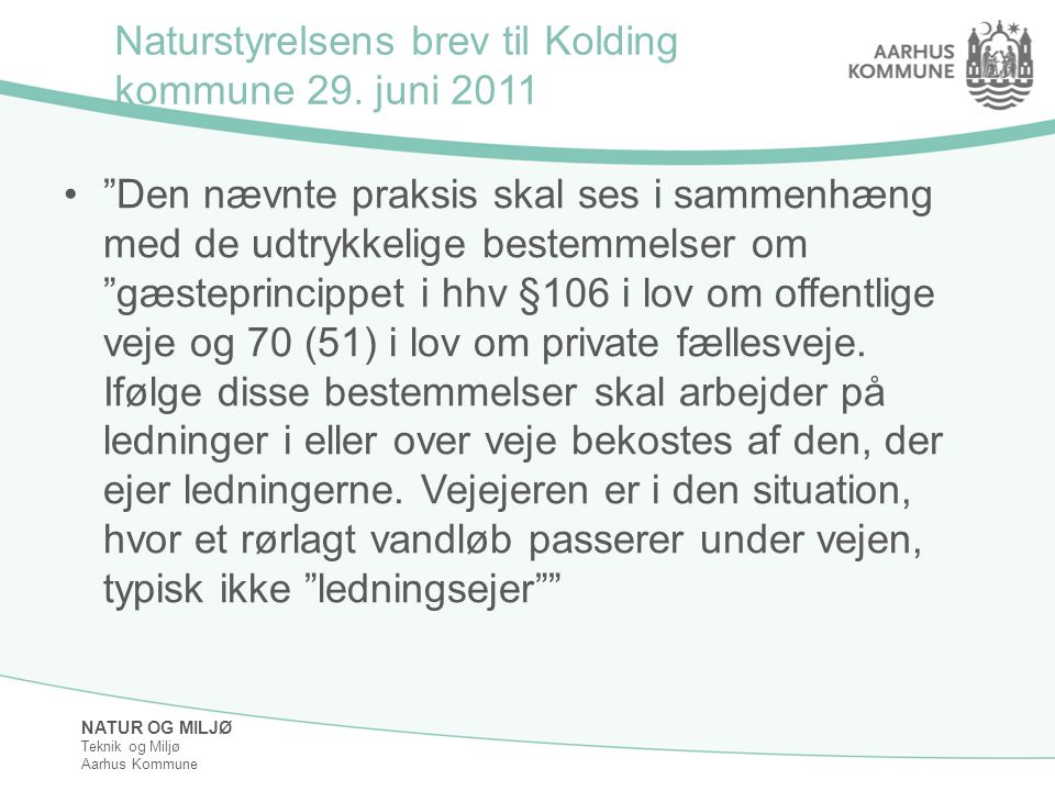 Naturstyrelsens brev til Kolding kommune 29. juni 2011