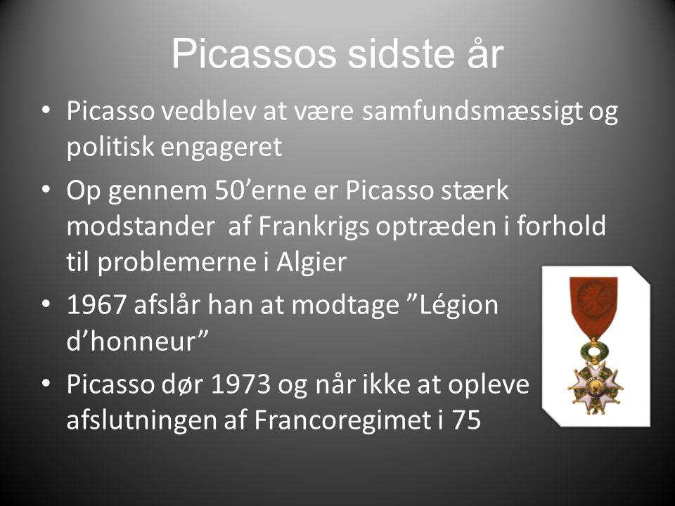Picassos sidste år Picasso vedblev at være samfundsmæssigt og politisk engageret.