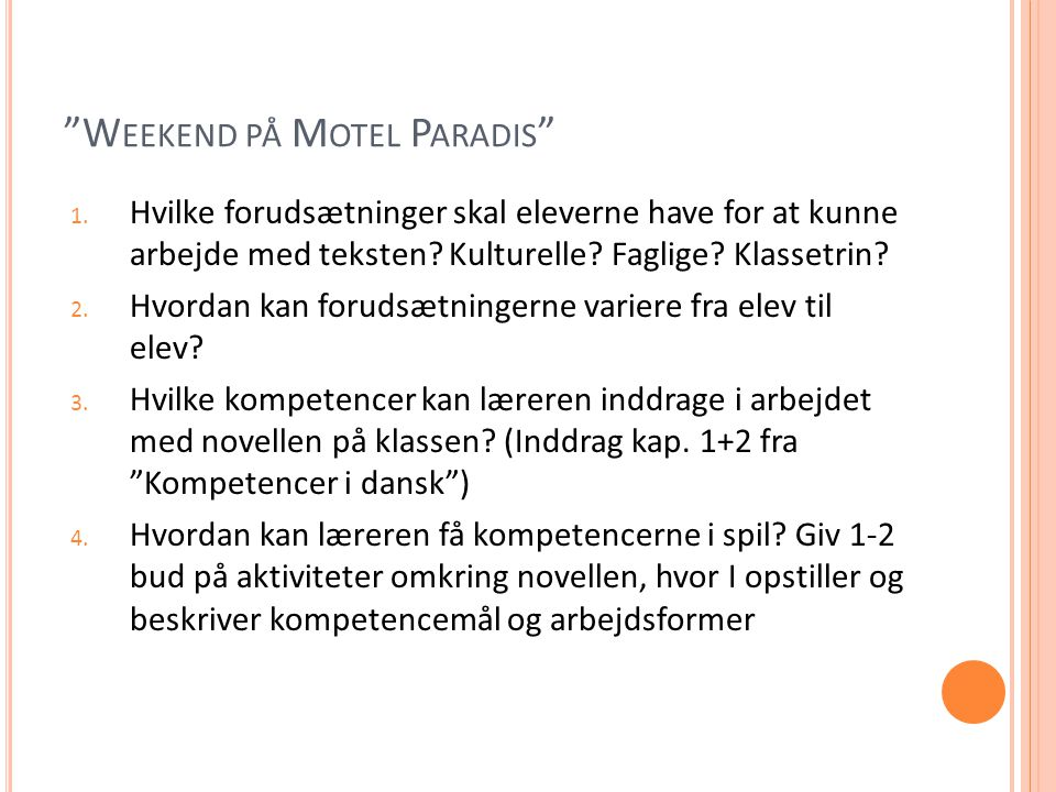 Weekend på Motel Paradis