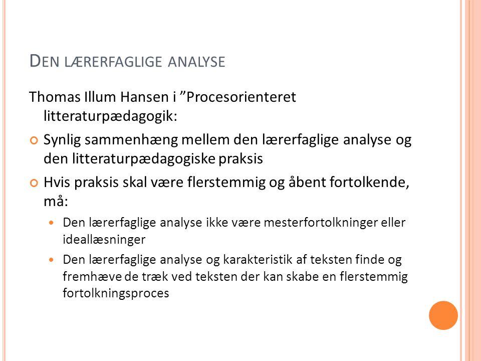 Den lærerfaglige analyse