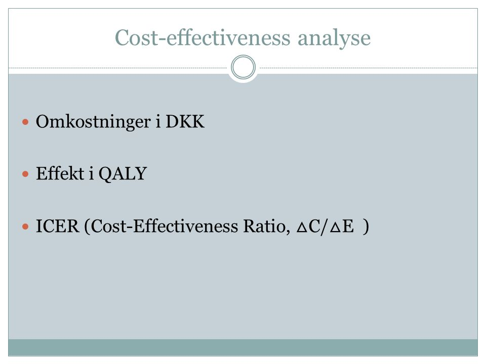Cost-effectiveness analyse