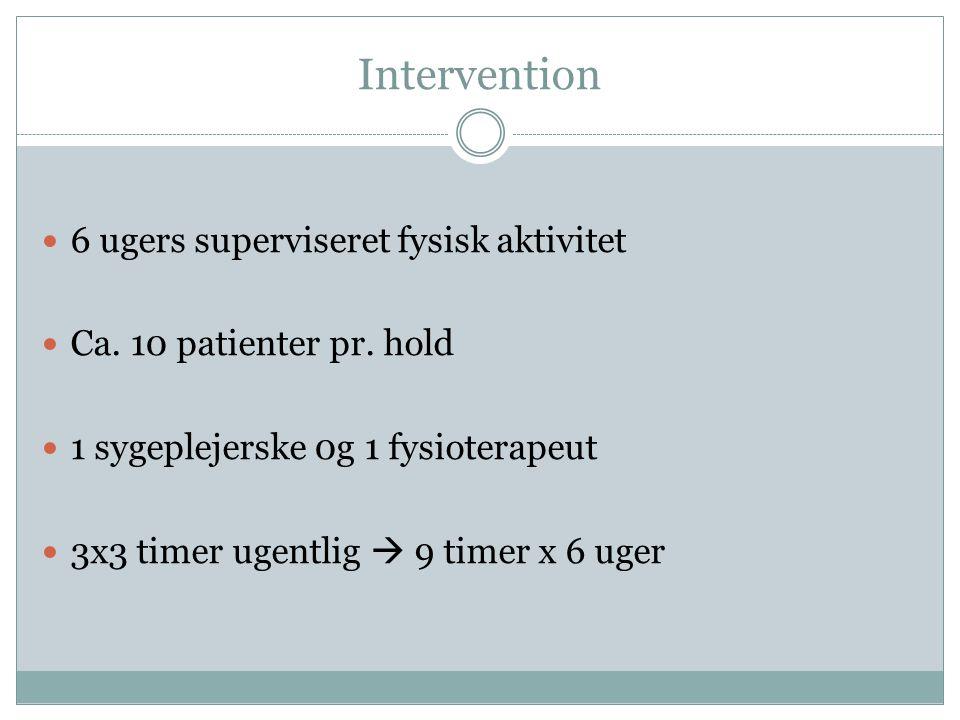 Intervention 6 ugers superviseret fysisk aktivitet
