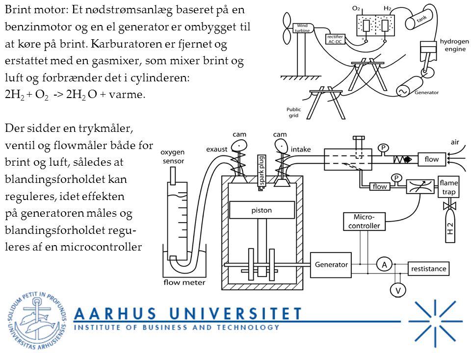 Brint motor: Et nødstrømsanlæg baseret på en benzinmotor og en el generator er ombygget til at køre på brint.