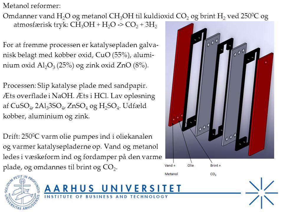 Metanol reformer: Omdanner vand H2O og metanol CH3OH til kuldioxid CO2 og brint H2 ved 2500C og atmosfærisk tryk: CH3OH + H2O -> CO2 + 3H2 For at fremme processen er katalysepladen galva- nisk belagt med kobber oxid, CuO (55%), alumi- nium oxid Al2O3 (25%) og zink oxid ZnO (8%).