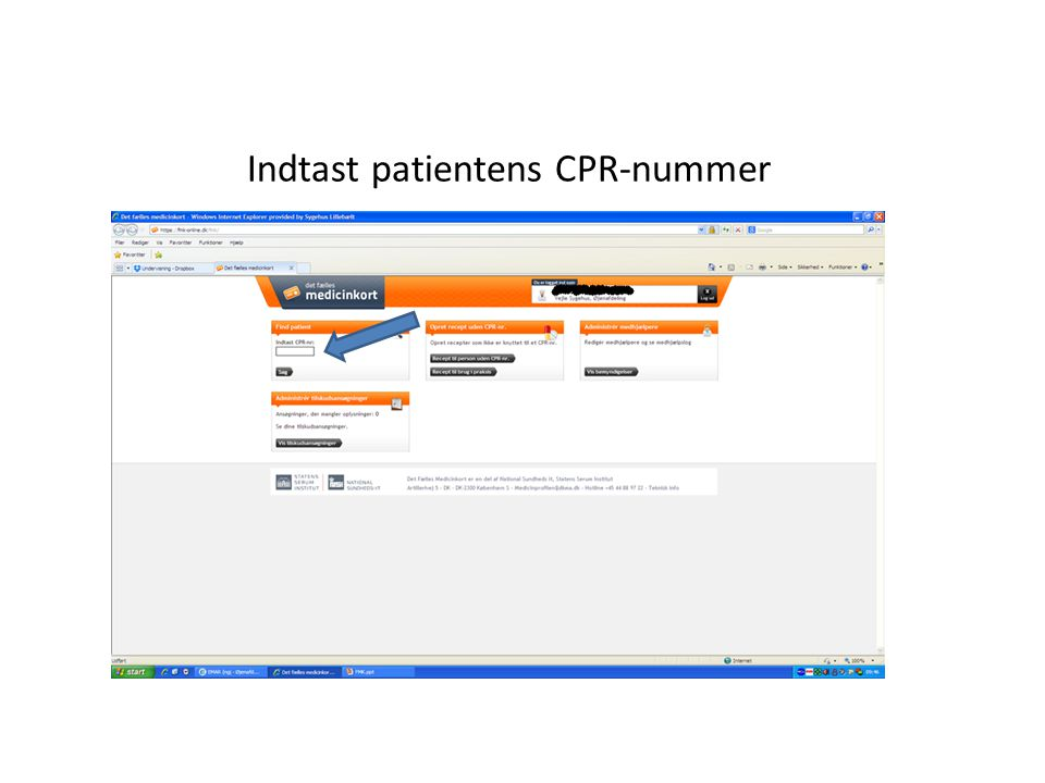 Indtast patientens CPR-nummer