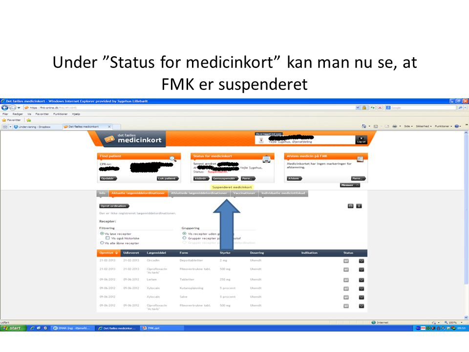 Under Status for medicinkort kan man nu se, at FMK er suspenderet