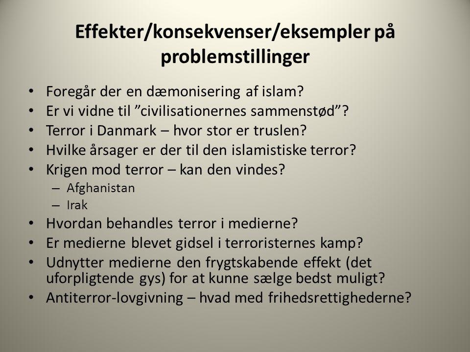 Effekter/konsekvenser/eksempler på problemstillinger