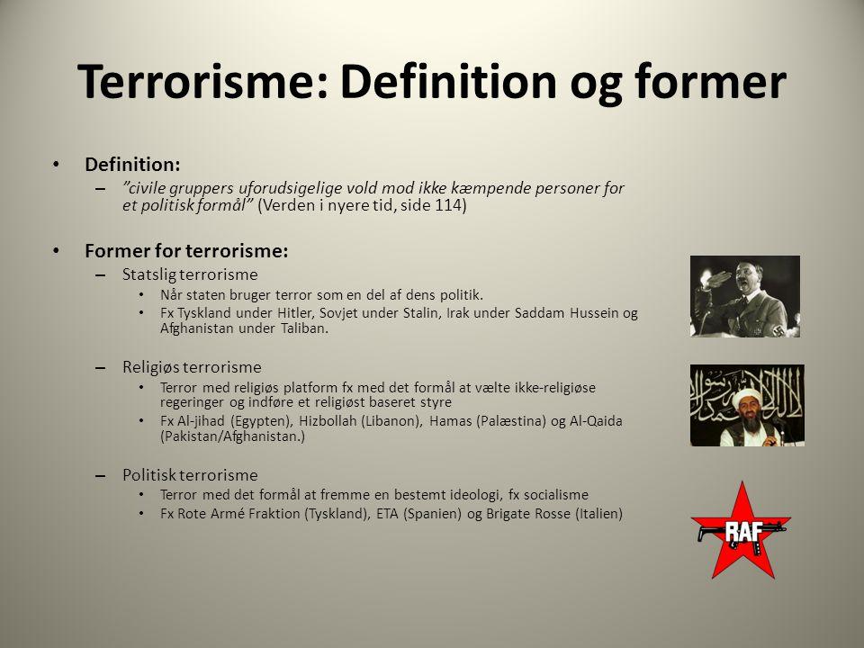 Terrorisme: Definition og former