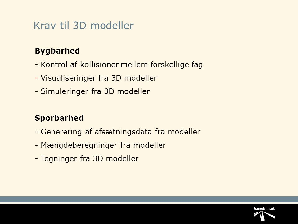 Krav til 3D modeller Bygbarhed