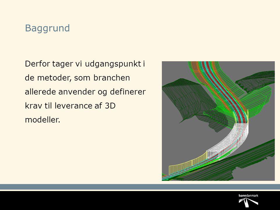 Baggrund Derfor tager vi udgangspunkt i de metoder, som branchen allerede anvender og definerer krav til leverance af 3D modeller.