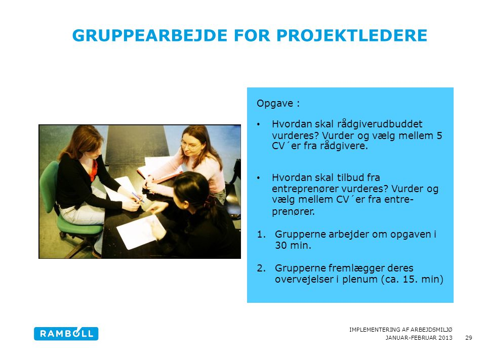 Gruppearbejde for Projektledere