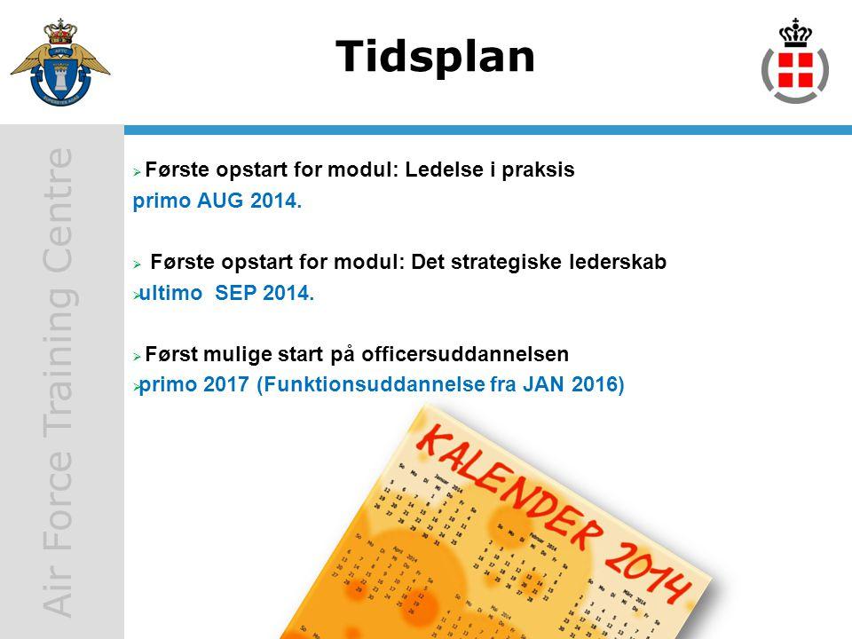 Tidsplan Første opstart for modul: Ledelse i praksis primo AUG 2014.