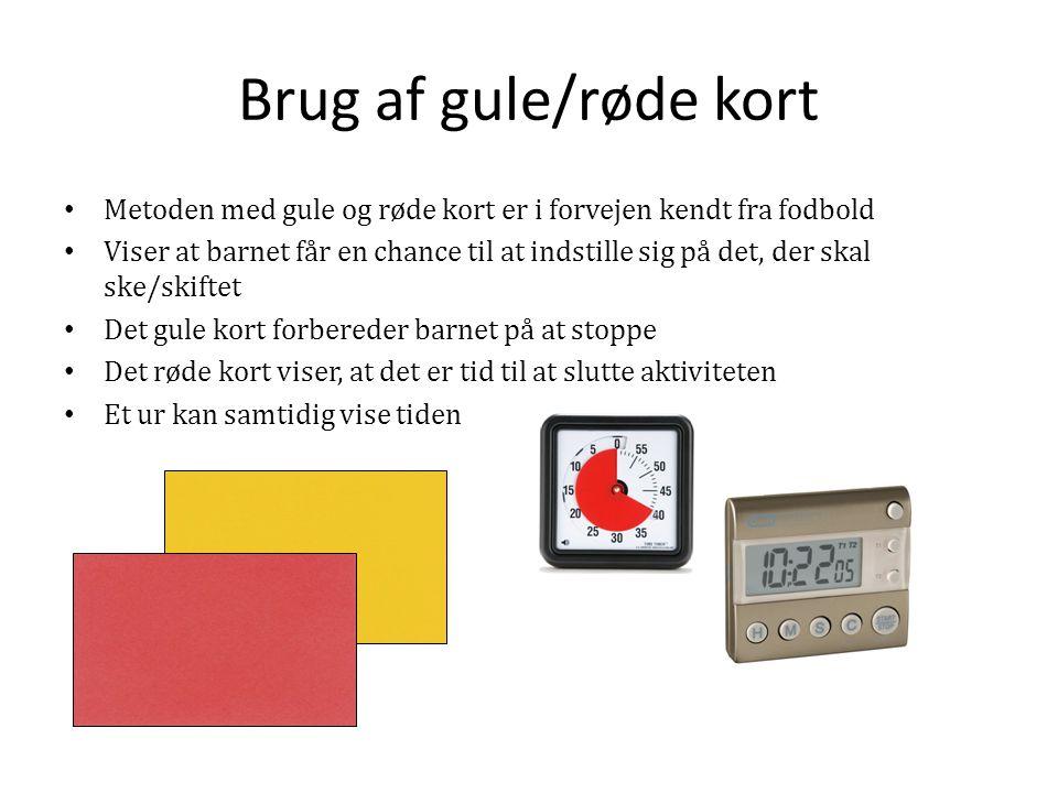 Brug af gule/røde kort Metoden med gule og røde kort er i forvejen kendt fra fodbold.